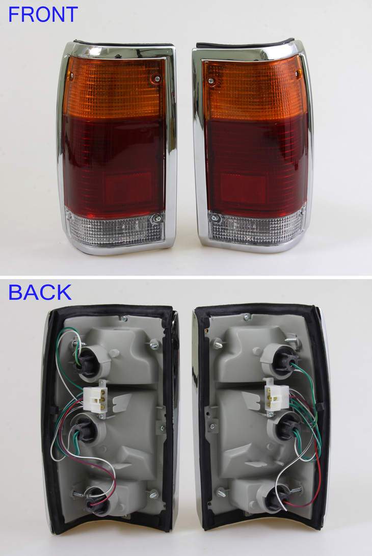 new pair tail lights lamp with chrome edge mazda b2000. Black Bedroom Furniture Sets. Home Design Ideas